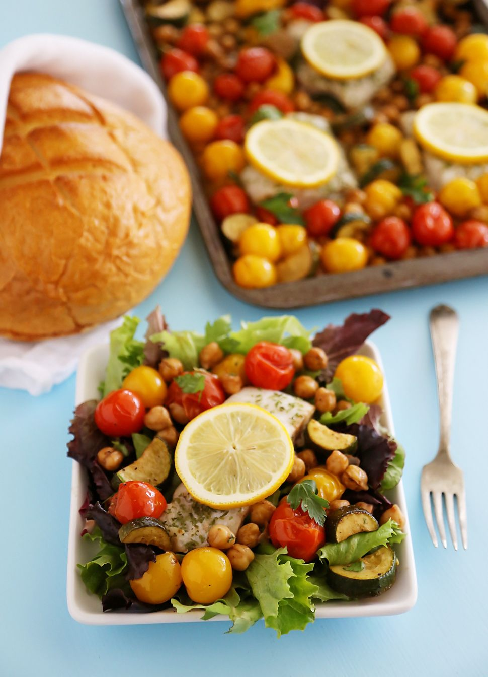Greek Lemon Baked Fish with Tomatoes, Zucchini and Chickpeas - Fish Recipes With Zucchini