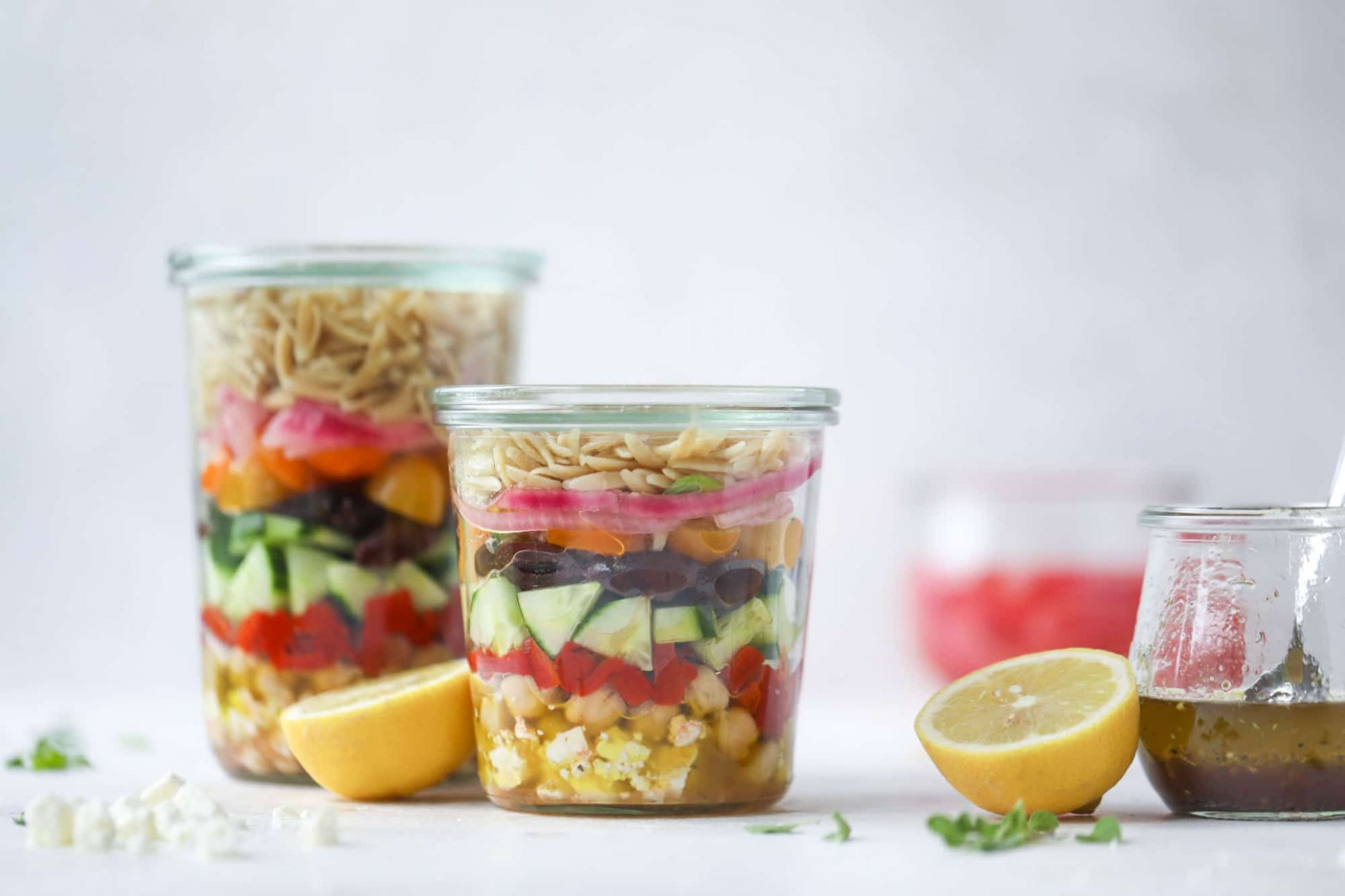Greek Orzo Salad in a Jar