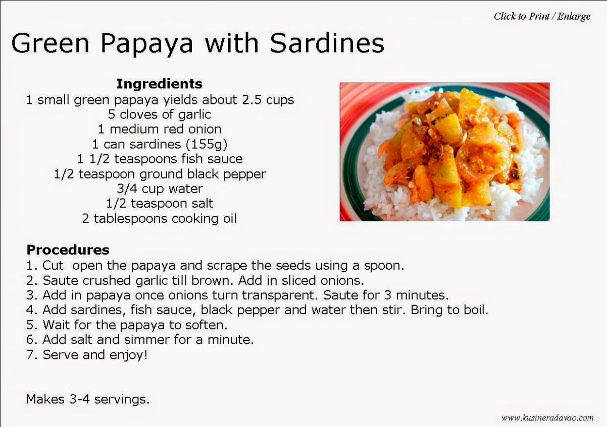 Green Papaya with Sardines Recipe | Sardine recipes, Vegetable ...