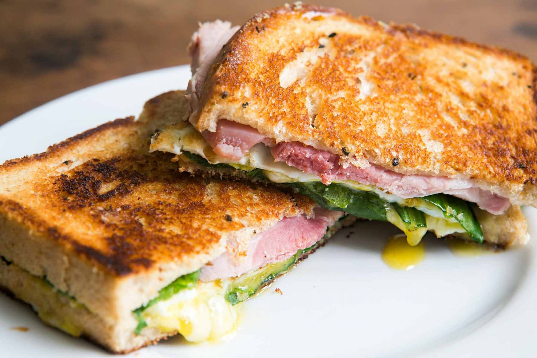 Greens, Eggs, and Ham, Grilled Cheese Sandwich - Sandwich Recipes With Ingredients And Procedure