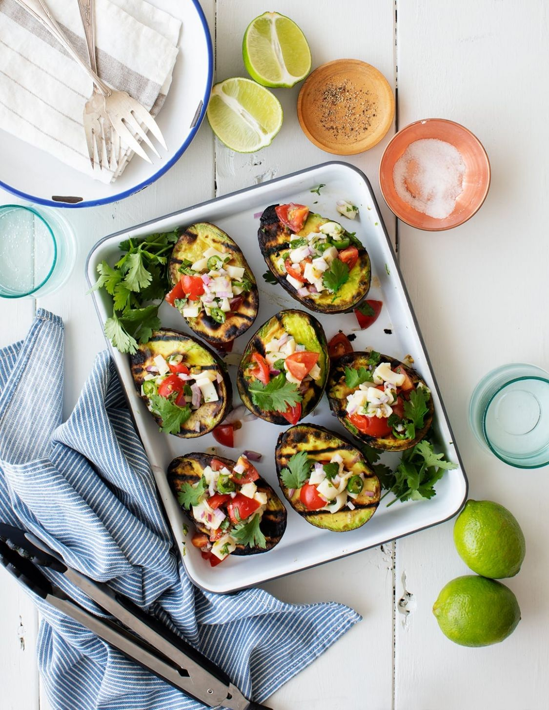 Grilled Avocado with Veggie Ceviche - Vegetarian Recipes On The Grill