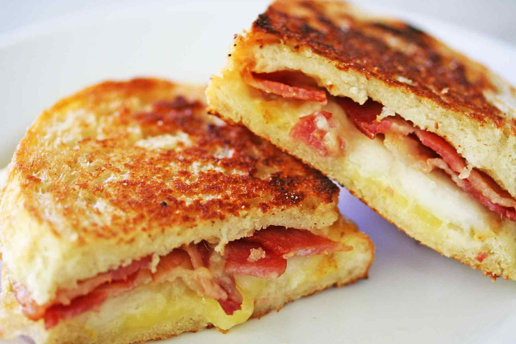 Grilled Cheese Sandwich with Bacon and Pear - Sandwich Recipes Ham And Cheese