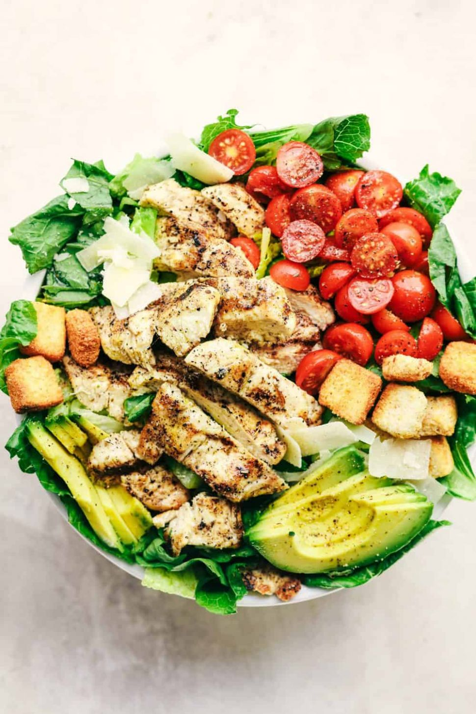 Grilled Chicken Caesar Avocado Salad