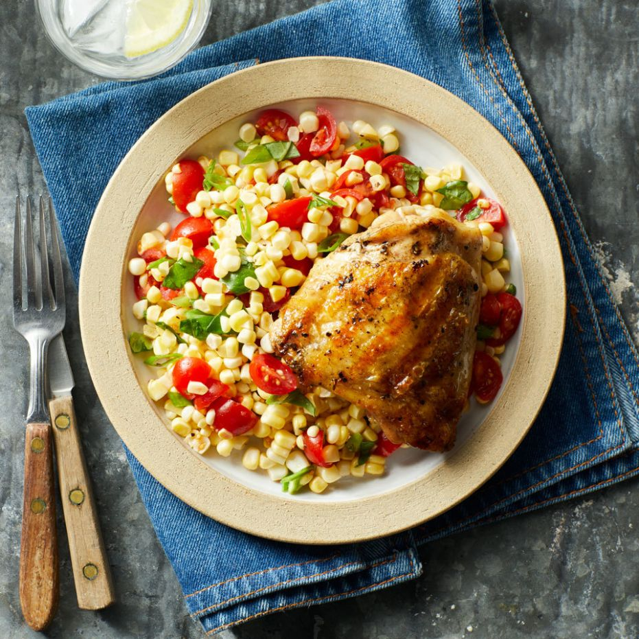 Grilled Chicken Thighs with Summer Corn Salad - Summer Recipes Chicken Thighs