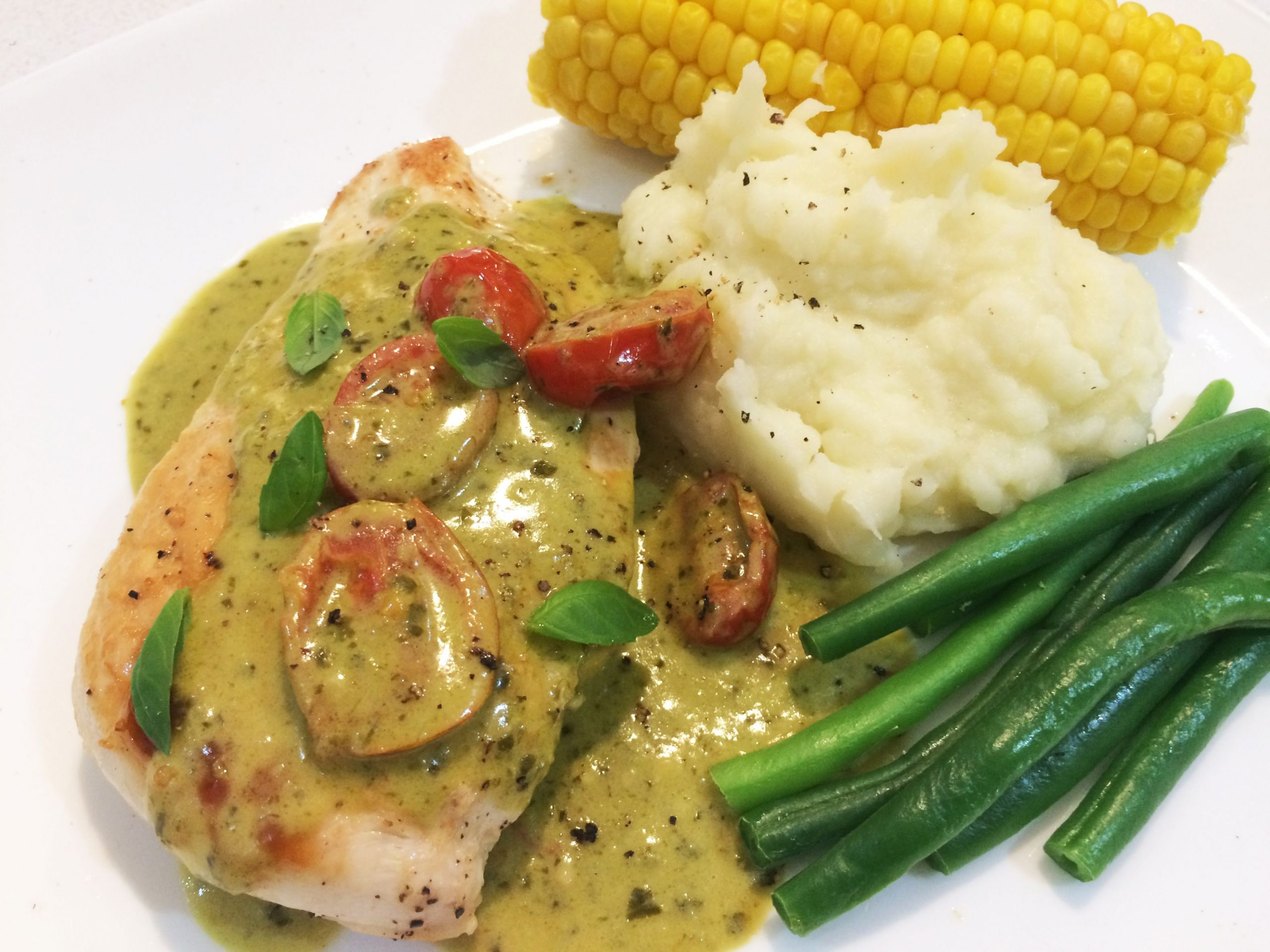 Grilled Chicken with Pesto Cream Sauce