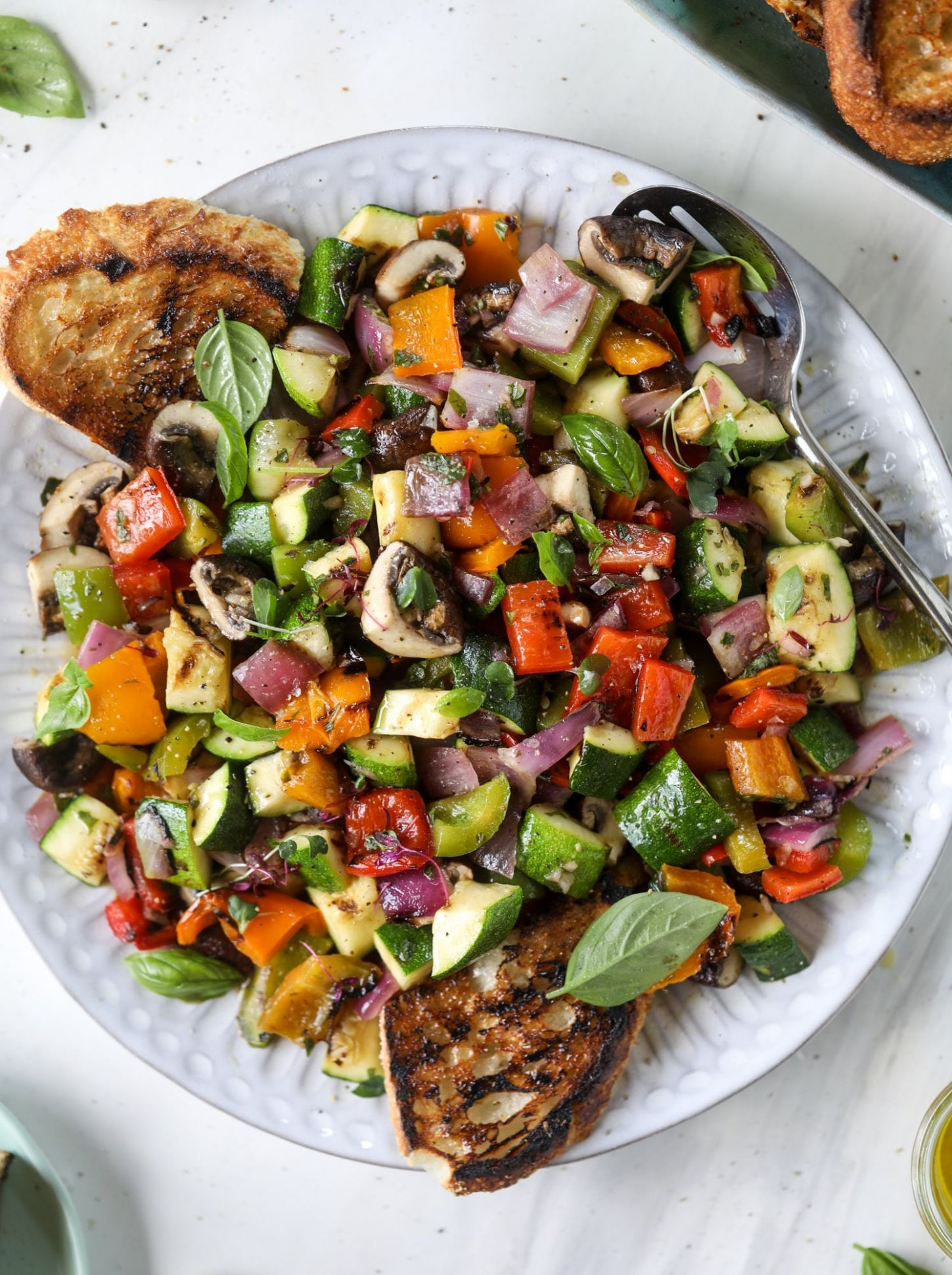 Grilled Chopped Veggies with Garlic Toast - Vegetarian Recipes On The Grill
