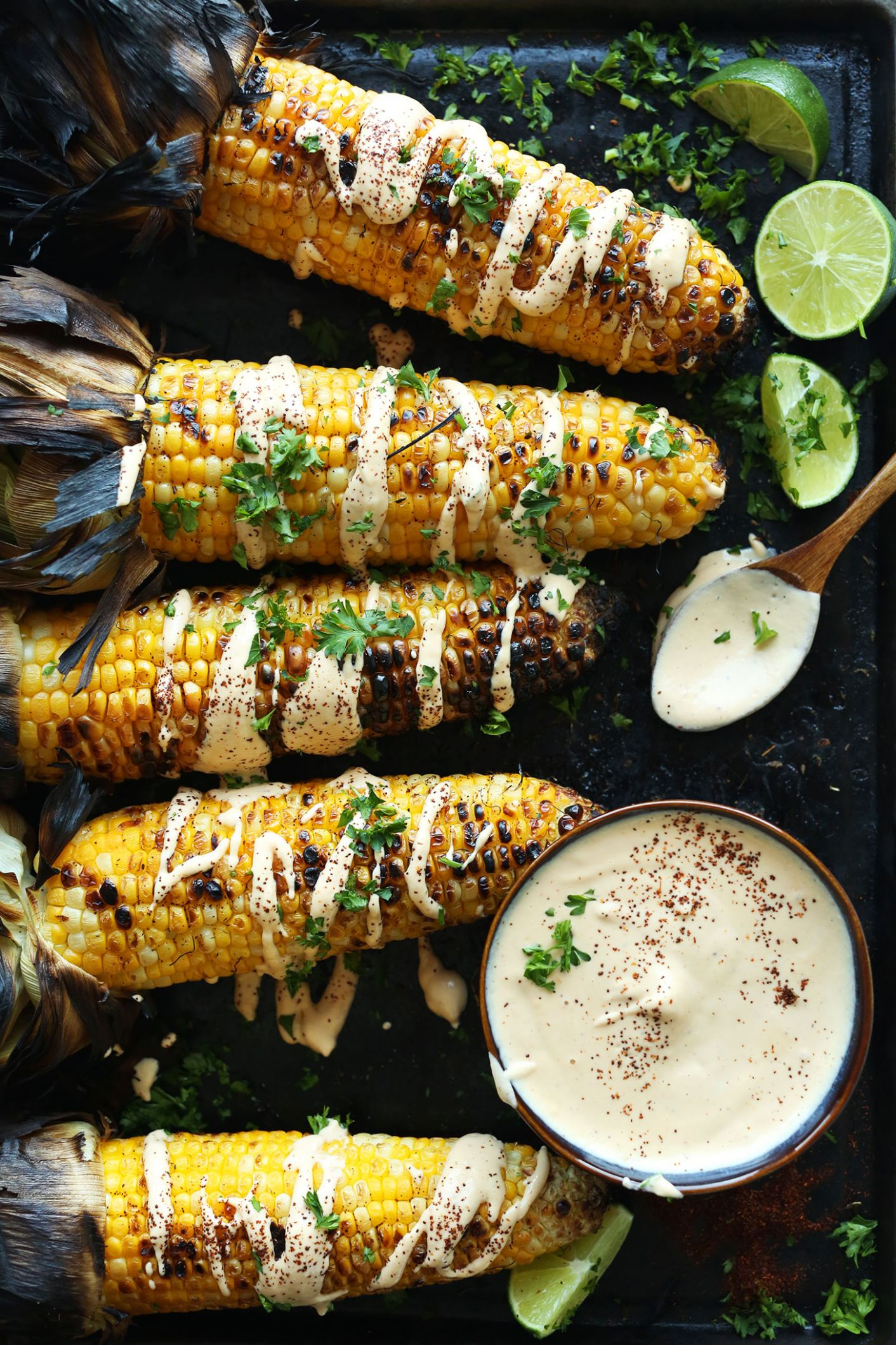 Grilled Corn with Sriracha Aioli - Vegetarian Recipes On The Grill