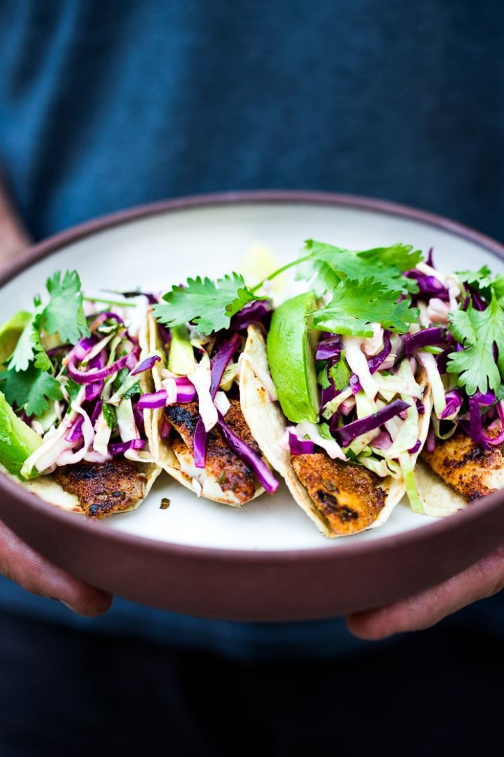 Grilled Fish Tacos with Cilantro Lime Cabbage Slaw | Feasting At Home - Recipe Fish Tacos Slaw