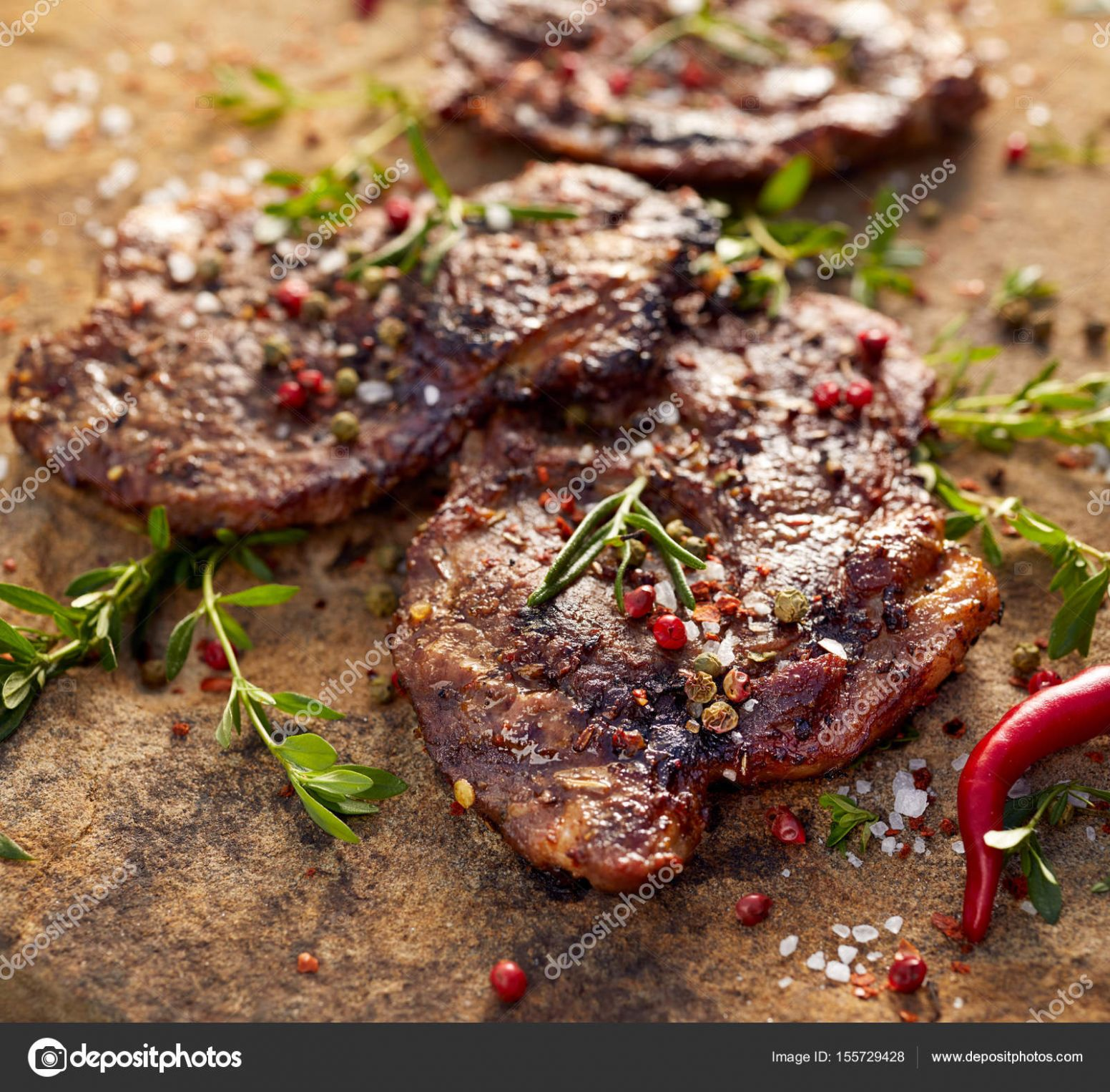 Grilled pork neck steak sprinkled with herbs and spices — Stock ..