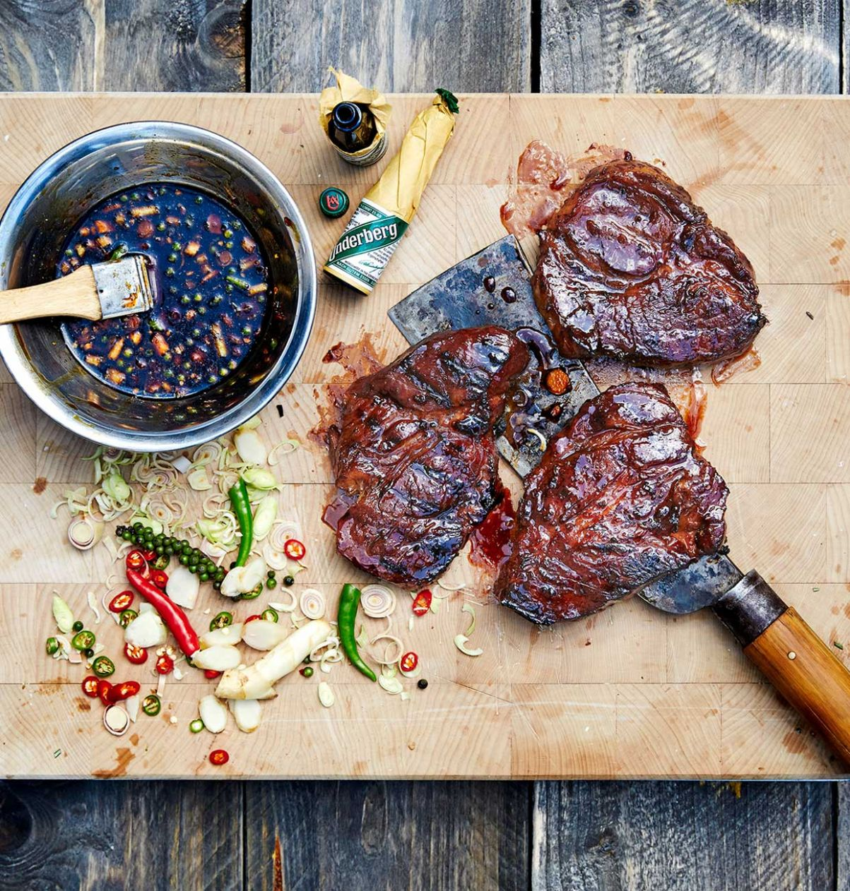 Grilled pork neck steaks marinated in Underberg - Underberg English