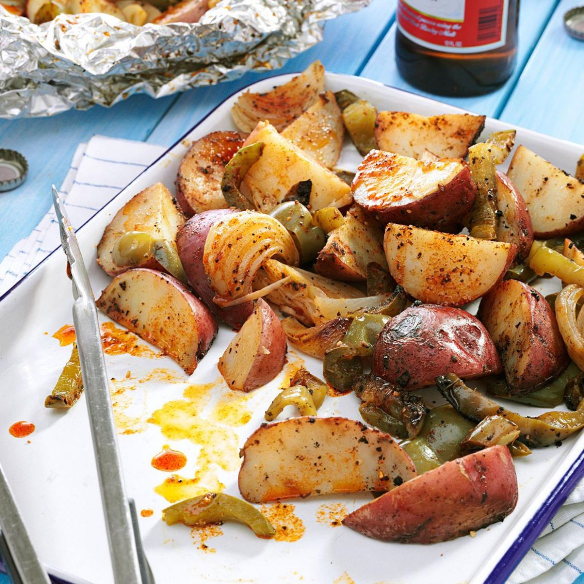 Grilled Potatoes & Peppers - Recipes Potato Dishes