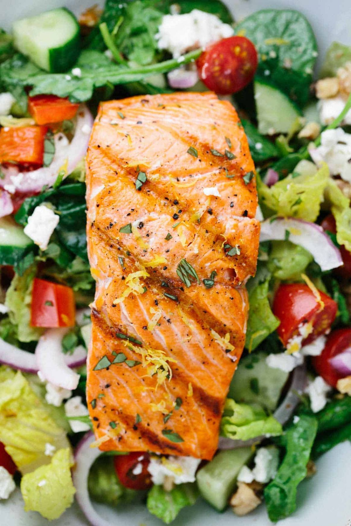 Grilled Salmon Greek Salad with Lemon Basil Dressing - Jessica Gavin - Salad Recipes To Go With Fish
