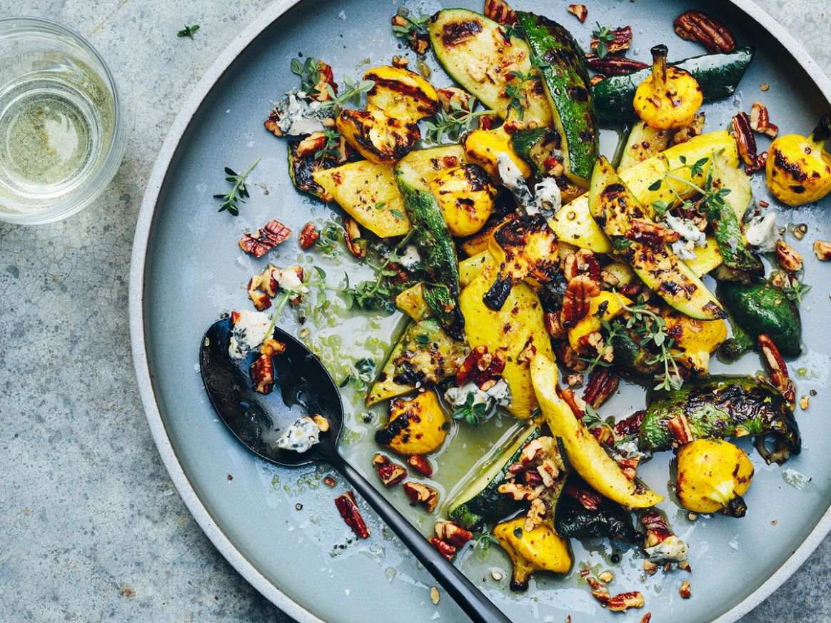 Grilled Summer Squash with Blue Cheese and Pecans - Recipes With Summer Squash