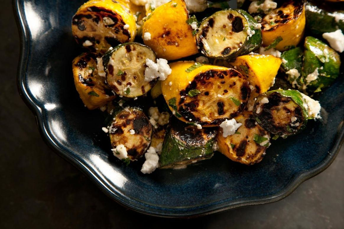 Grilled Summer Squash with Feta and Mint - Recipes For Summer Zucchini