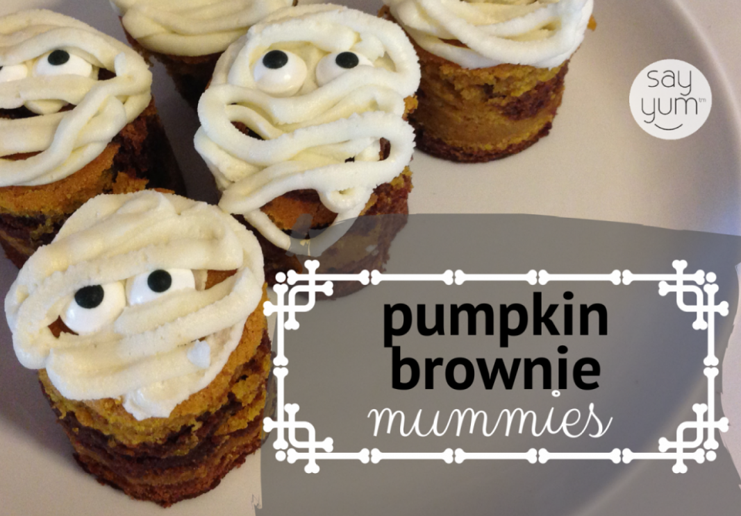 Halloween Dessert | Mummy Pumpkin Swirl Brownies - Dessert Recipes Halloween