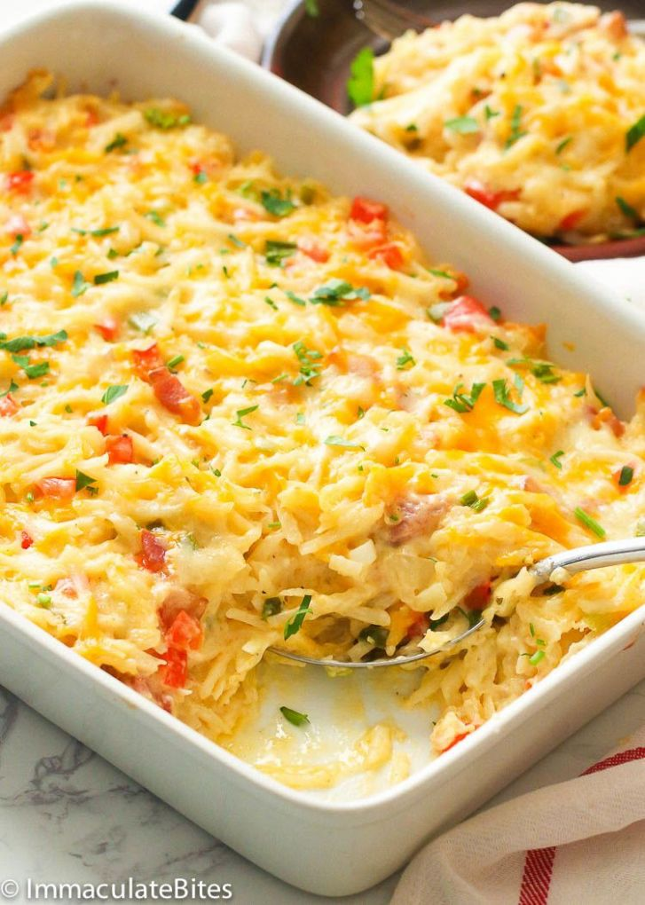 Hashbrown Breakfast Casserole - Immaculate Bites - Recipe Egg Hash Brown Casserole