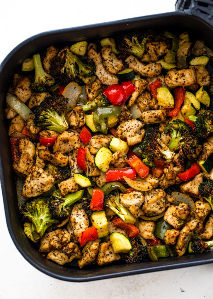Healthy Air Fryer Chicken and Veggies | Gimme Delicious