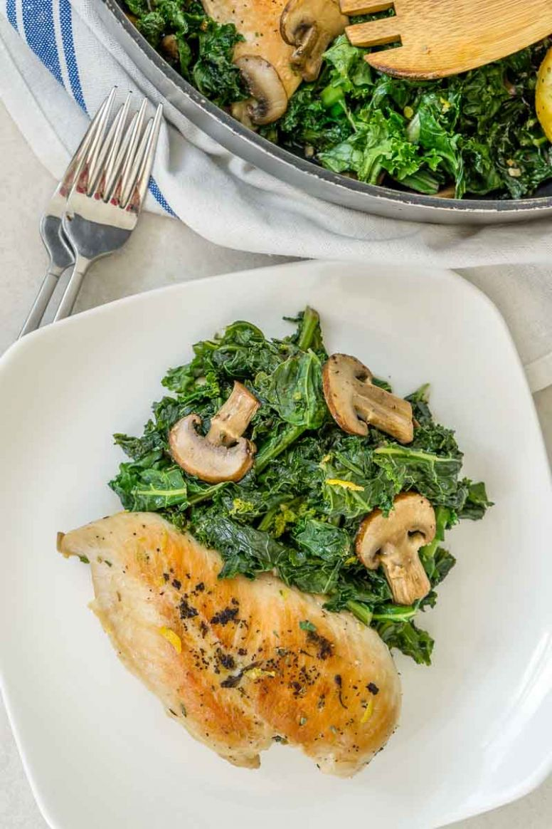 Healthy Chicken and Mushroom Skillet - Recipe Chicken Breast Kale Mushrooms