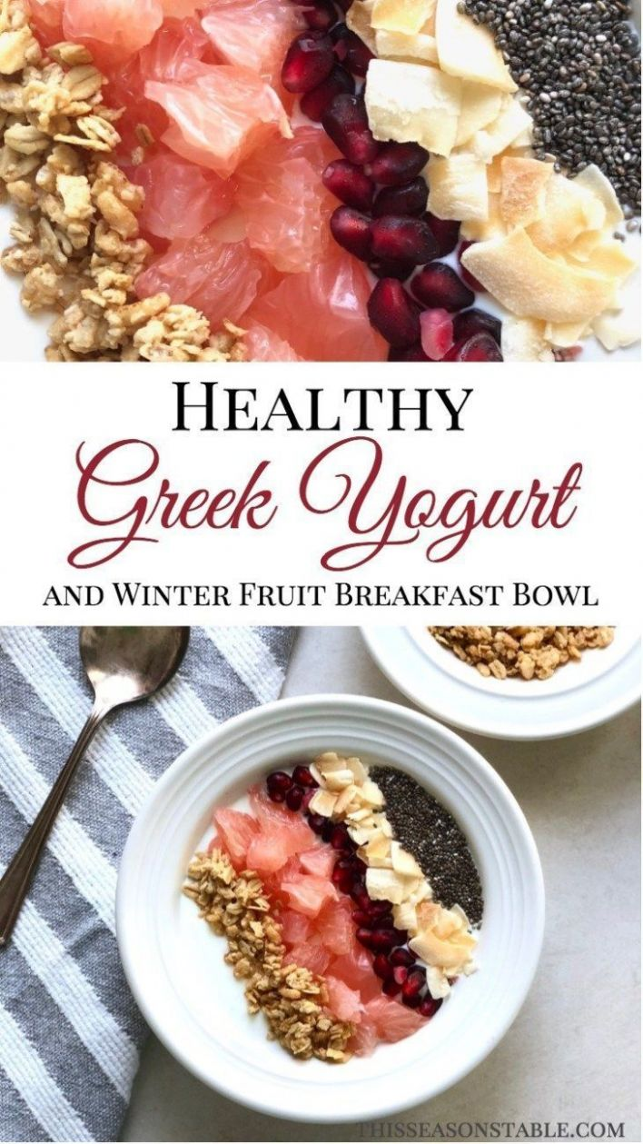 Healthy Greek Yogurt and Winter Fruit Breakfast Bowl - Breakfast Recipes Greek Yogurt
