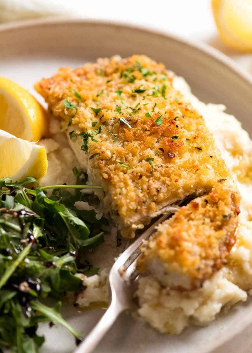 Healthy Parmesan Garlic Crumbed Fish - Recipes Fish Dinner