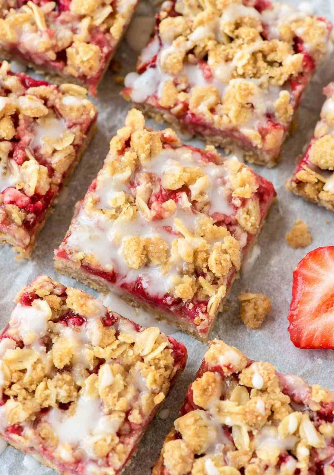 Healthy Strawberry Oatmeal Bars - Dessert Recipes You Can Make The Day Before