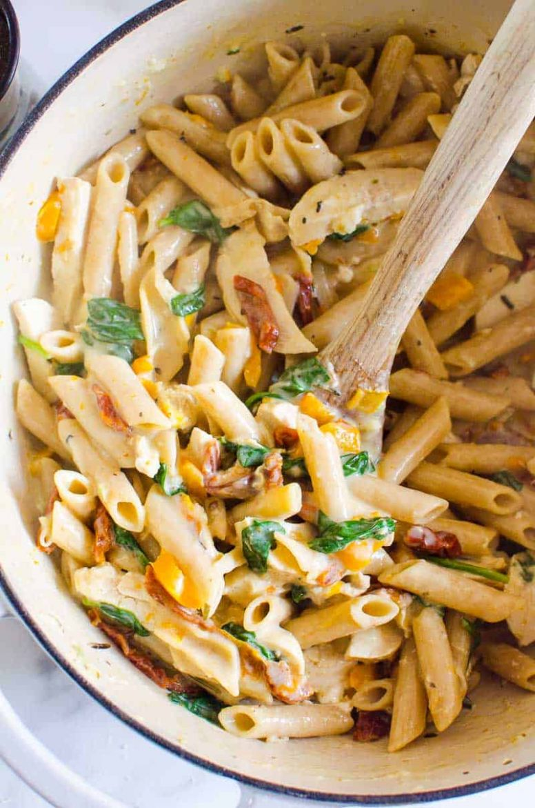 Healthy Tuscan Chicken Pasta (One Pot) - iFOODreal