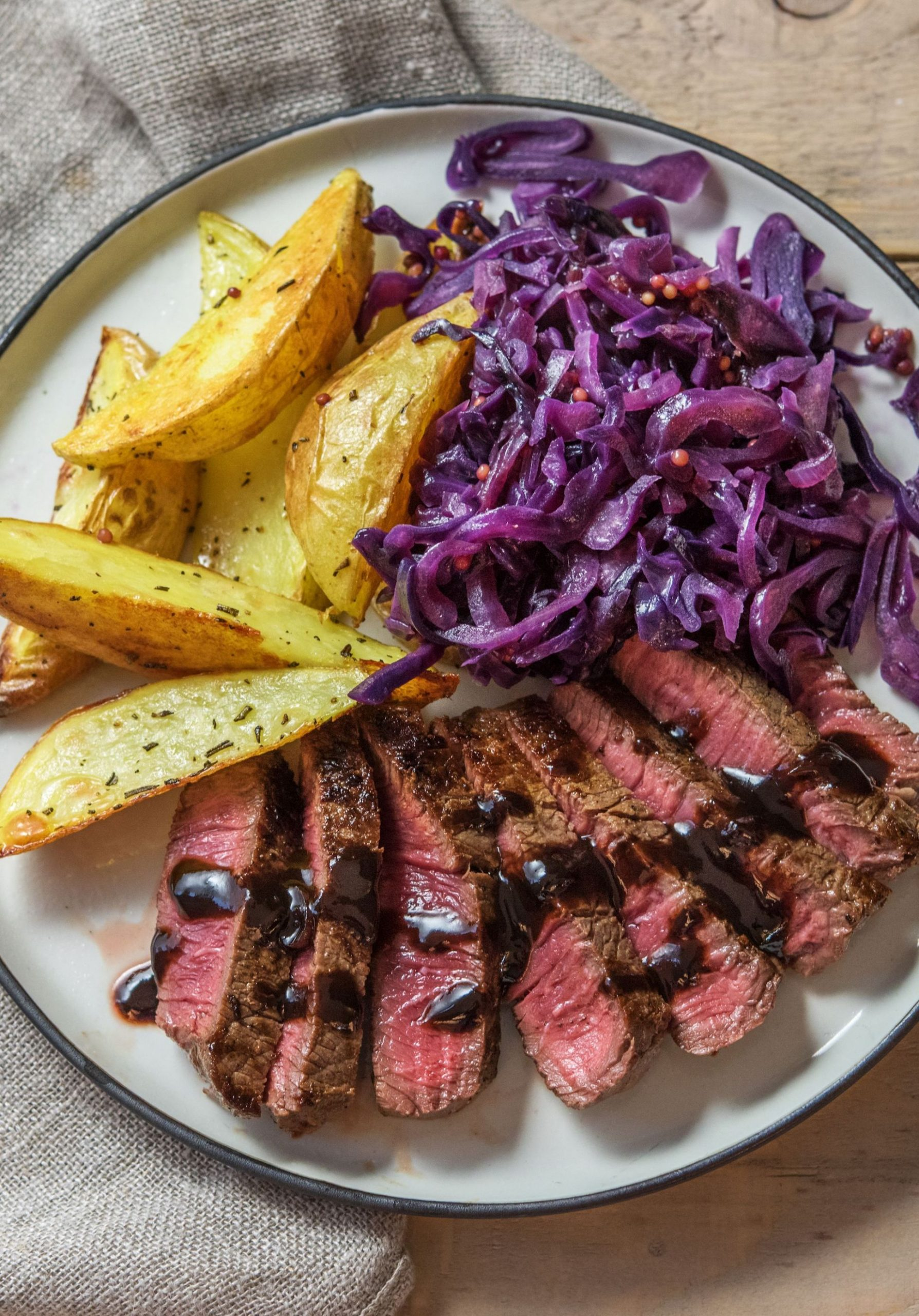 Hearty Steak and Potatoes with Balsamic-Cranberry Pan Sauce - Beef Recipes For Dinner