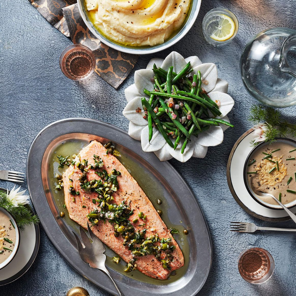 Holiday Dinner Menu with Olive-Caper Salmon, Mushroom Soup, and ..
