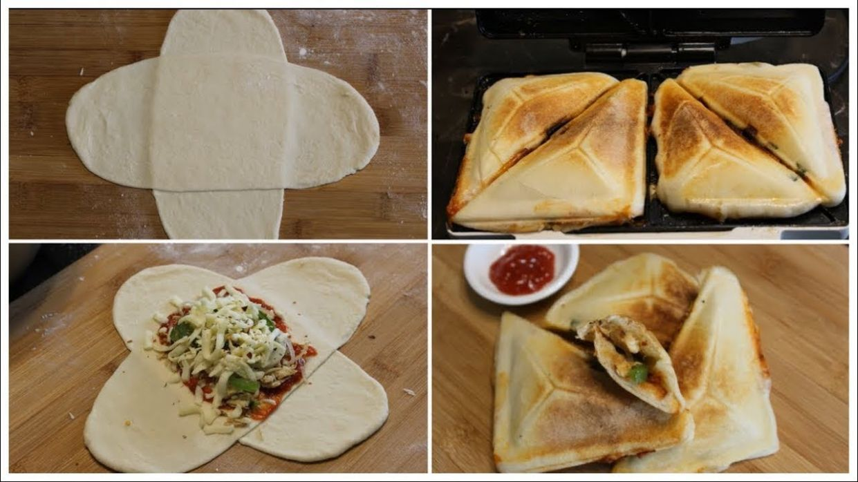 HOW TO MAKE PIZZA IN SANDWICH MAKER WITH PIZZA DOUGH || KIDS LUNCH BOX  IDEA|| - Recipes Sandwich Maker
