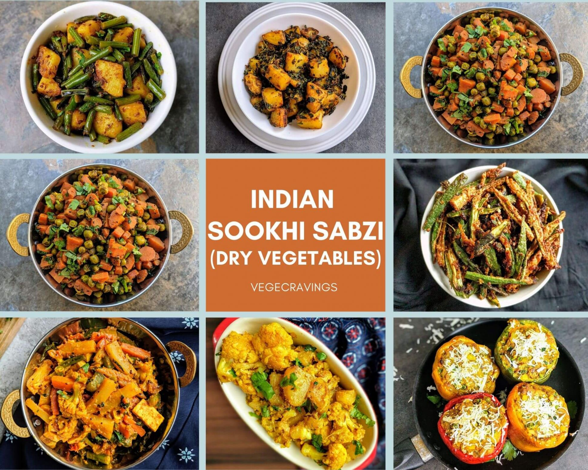 Indian Sabzi Recipes | 11 Dry Vegetables | Sookhi Sabji | VegeCravings - Vegetable Recipes Names