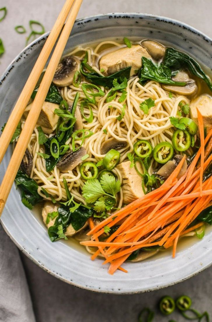 Instant Pot Healthy Chicken and Spinach Ramen Noodle Bowl - Healthy Recipes Ramen Noodles