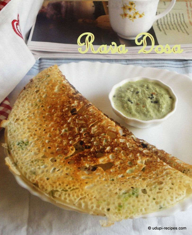 Instant Rava Dosa - Breakfast Recipes Rava Dosa