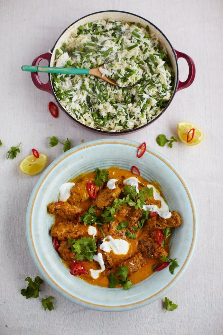 Jamie Oliver's 11 Minute Meals: Beef Kofta Curry, Fluffy Rice, Beans & Peas