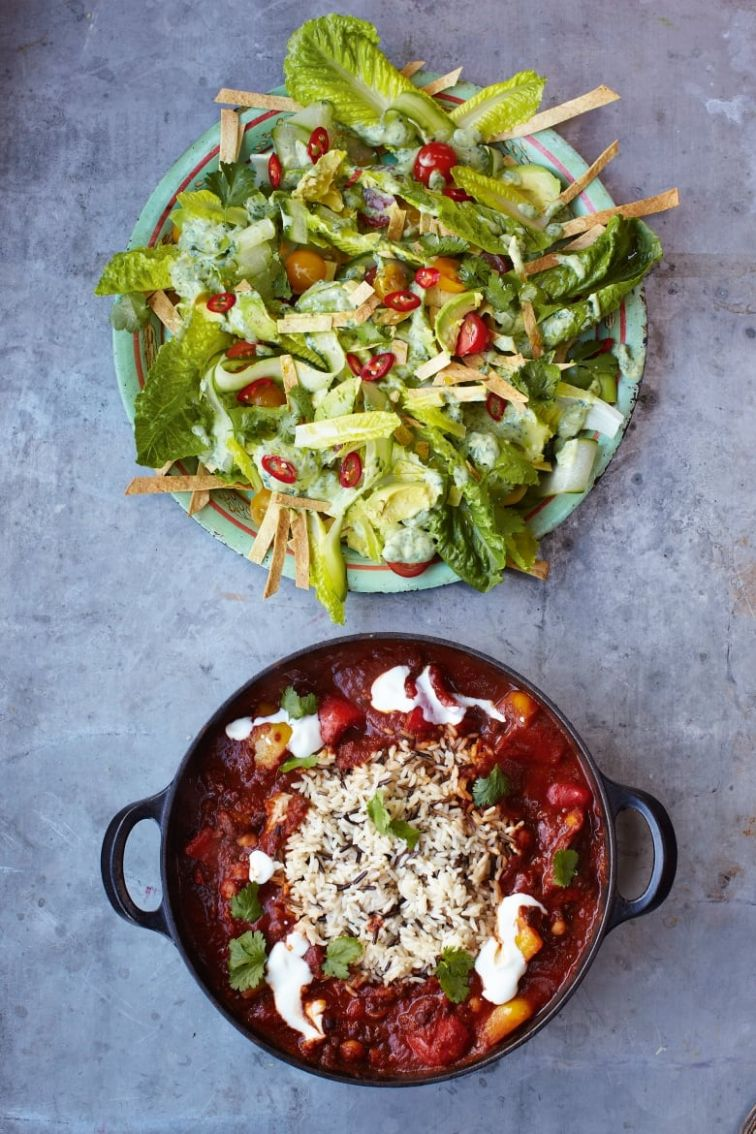 Jamie Oliver's 9 Minute Meals: Veggie Chili with Crunchy Tortilla &  Avocado Salad
