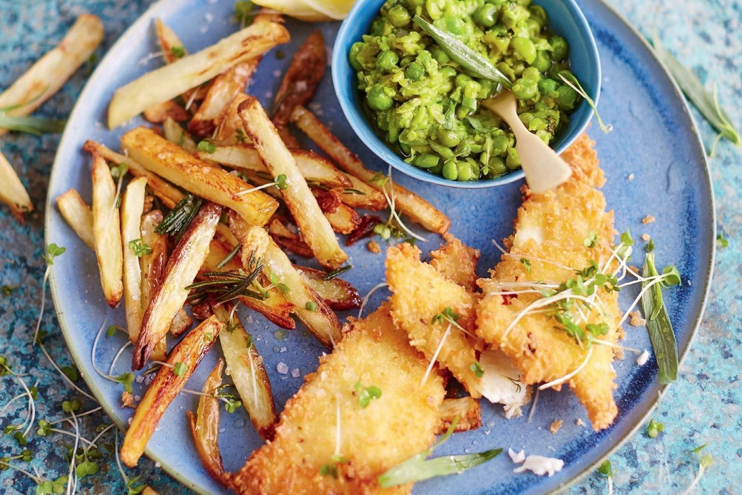 Jamie Oliver's fish and cheat's chips with tarragon mushy peas