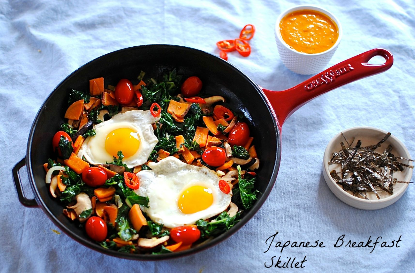 Japanese Breakfast Skillet with Warm Tomato, Ginger and Miso Dressing