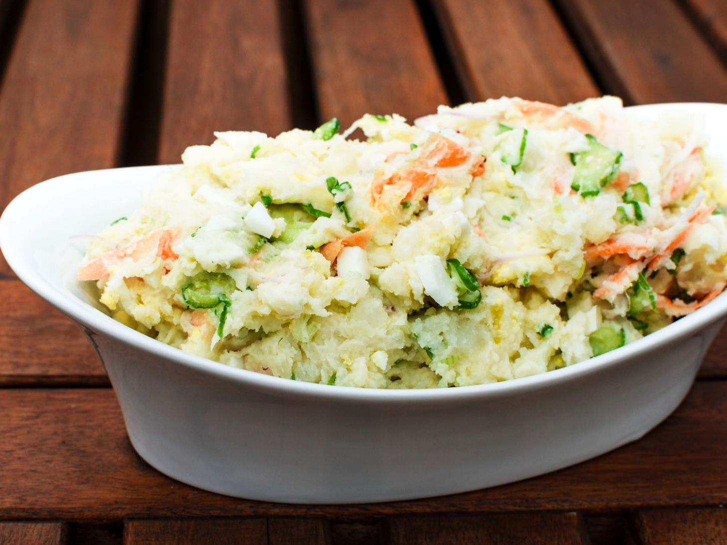 Japanese Potato Salad With Cucumbers, Carrots, and Red Onion Recipe - Potato Recipes Japanese