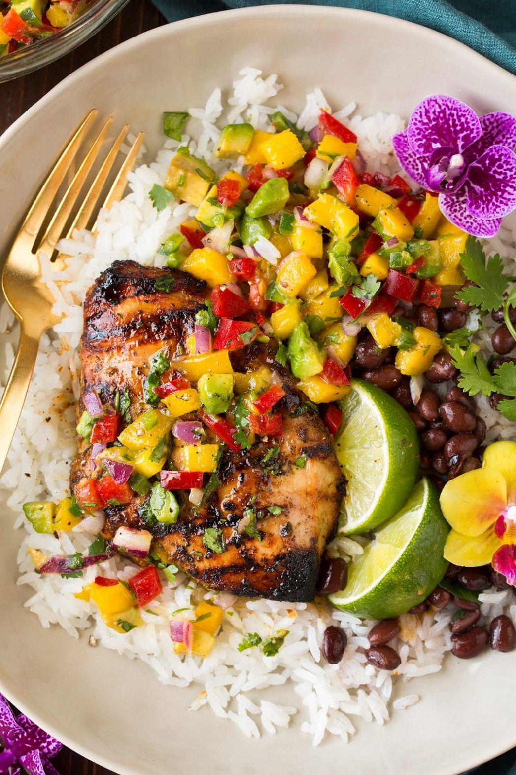 Jerk Chicken with Mango Avocado Salsa and Coconut Rice - Chicken Breast Jamaican Recipes