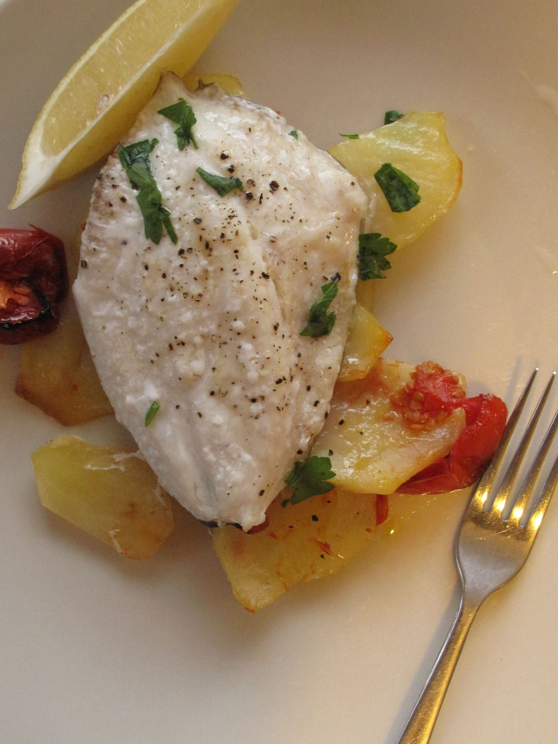 John Dory with Potatoes and Tomatoes | Cooking tomatoes, Seafood ..