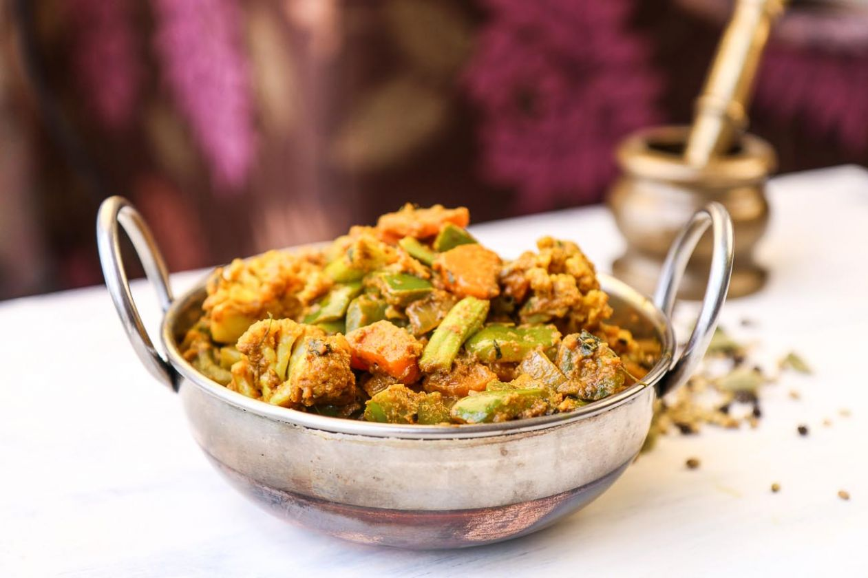 Kadai Vegetable Sabzi Recipe (Mixed Vegetable Saute with Spices) - Vegetable Recipes North Indian Style