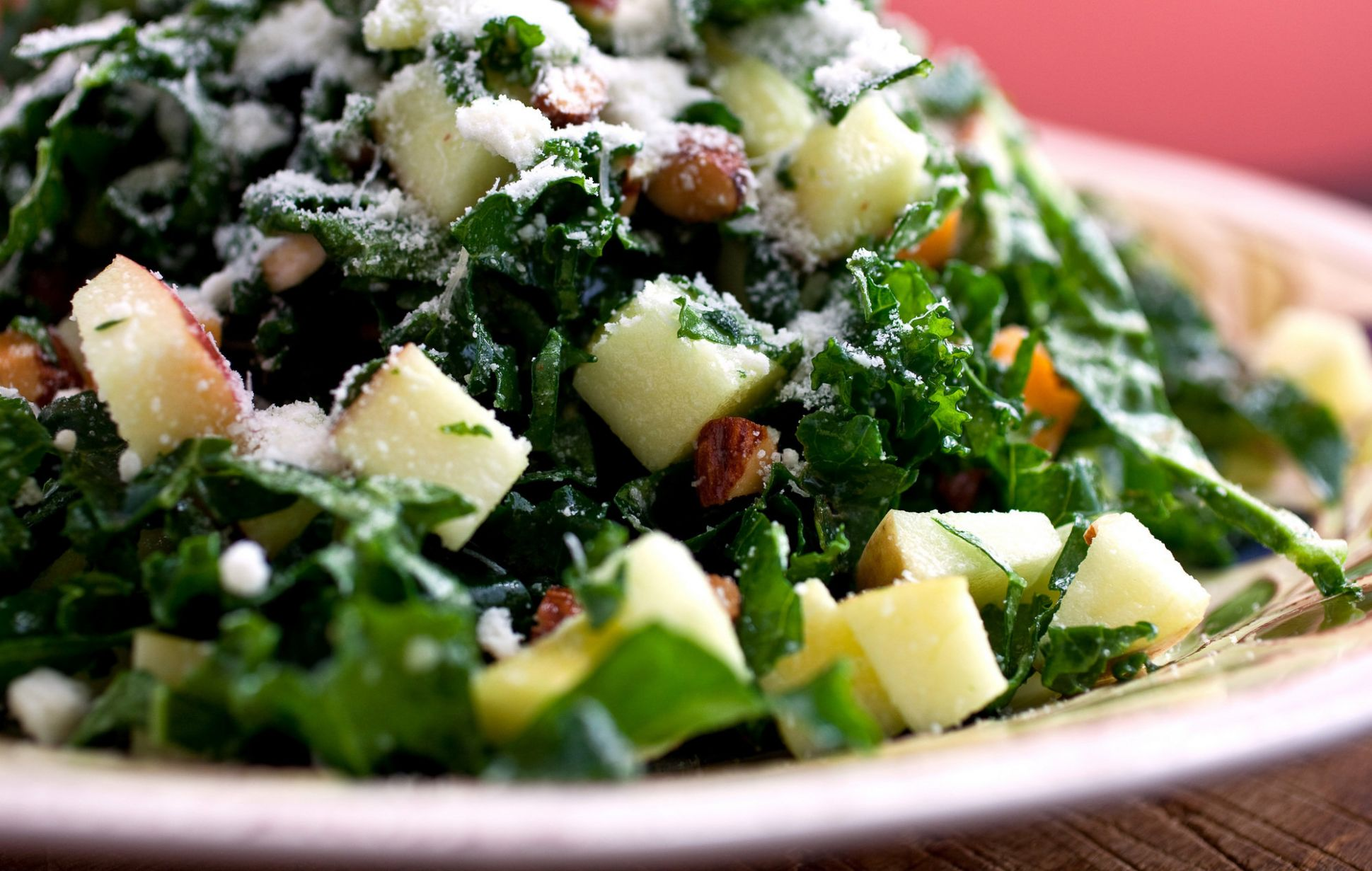 Kale Salad With Apples, Cheddar and Toasted Almonds or Pine Nuts ...