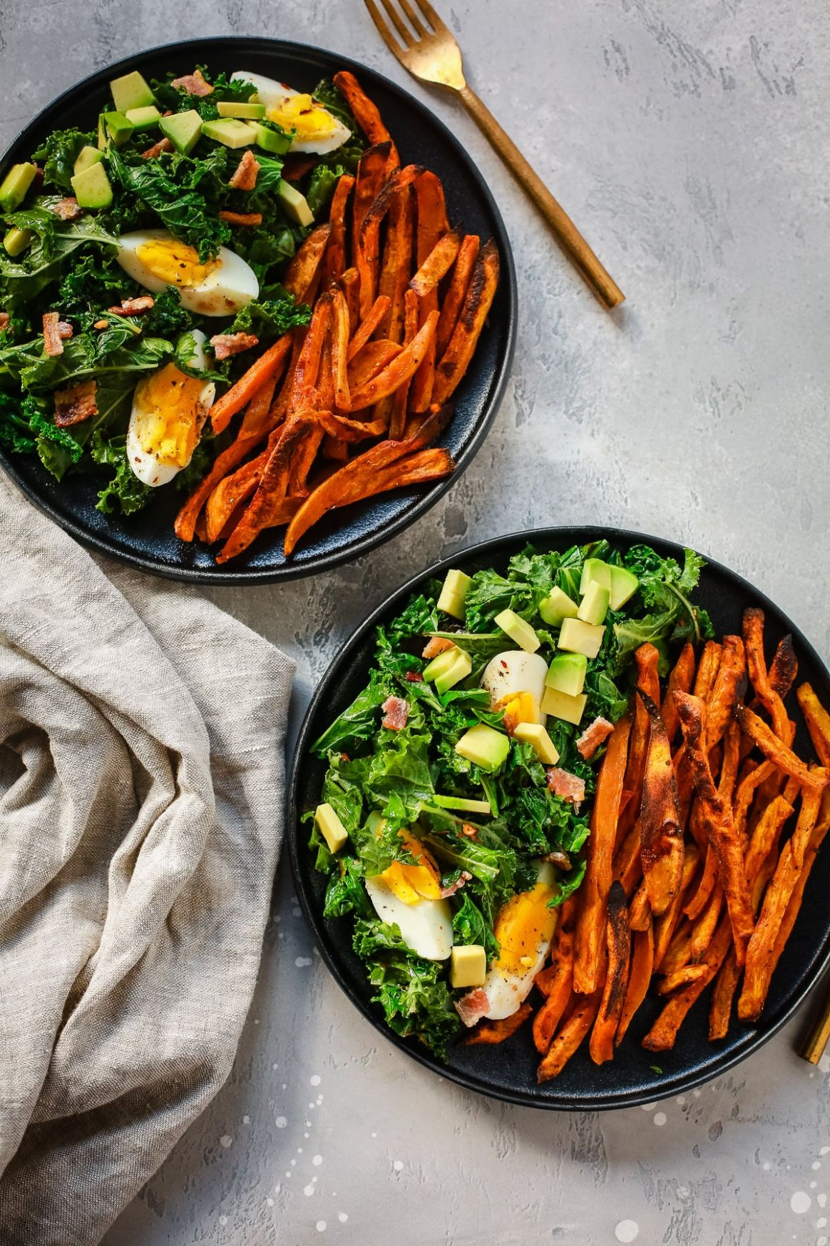 Kale Salad with Crispy Sweet Potato (Quick and Easy Whoel12 Lunch)