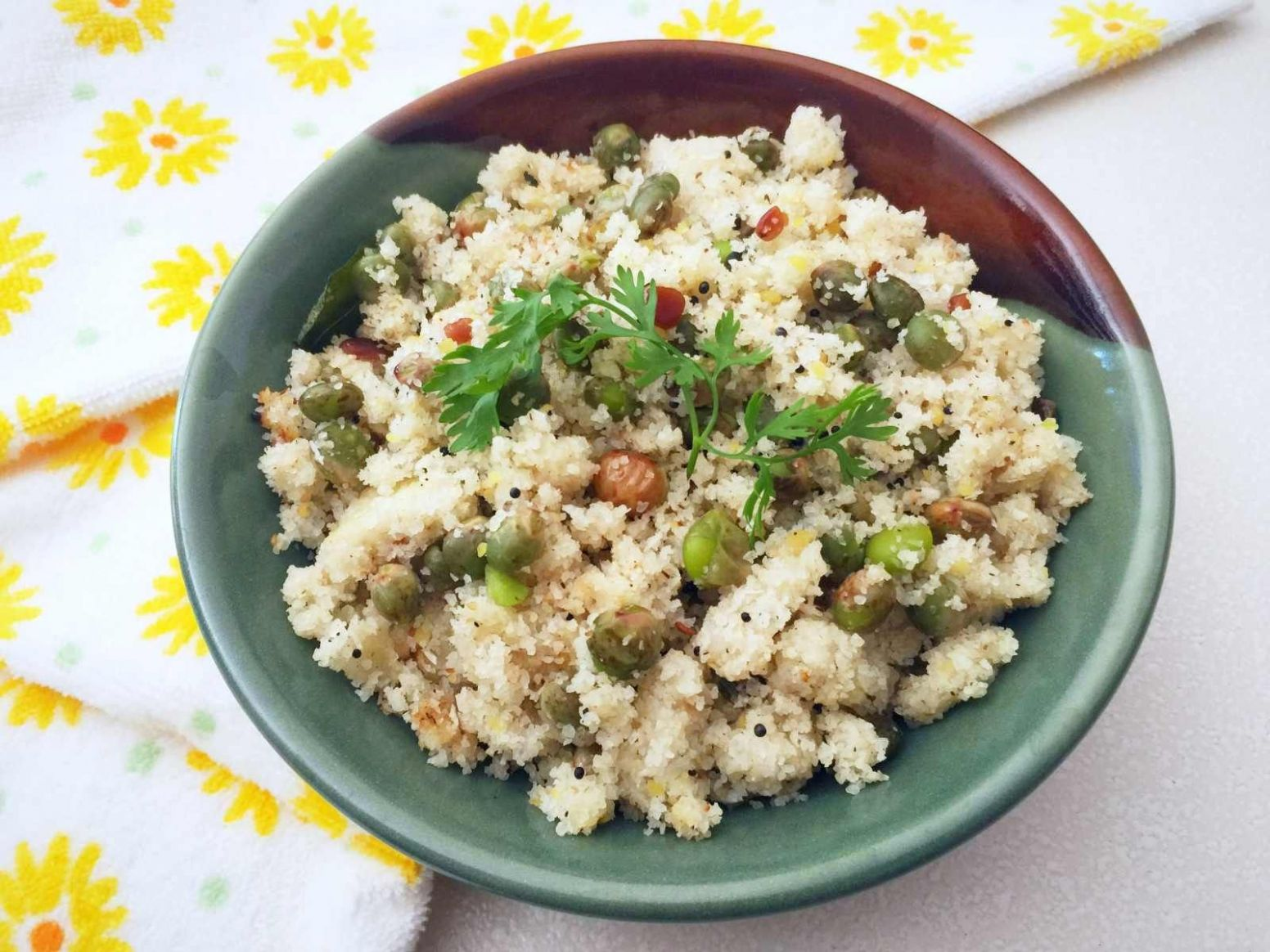Karnataka Style Rice Rava Upma with Fresh Pigeon Peas - Breakfast Recipes Karnataka