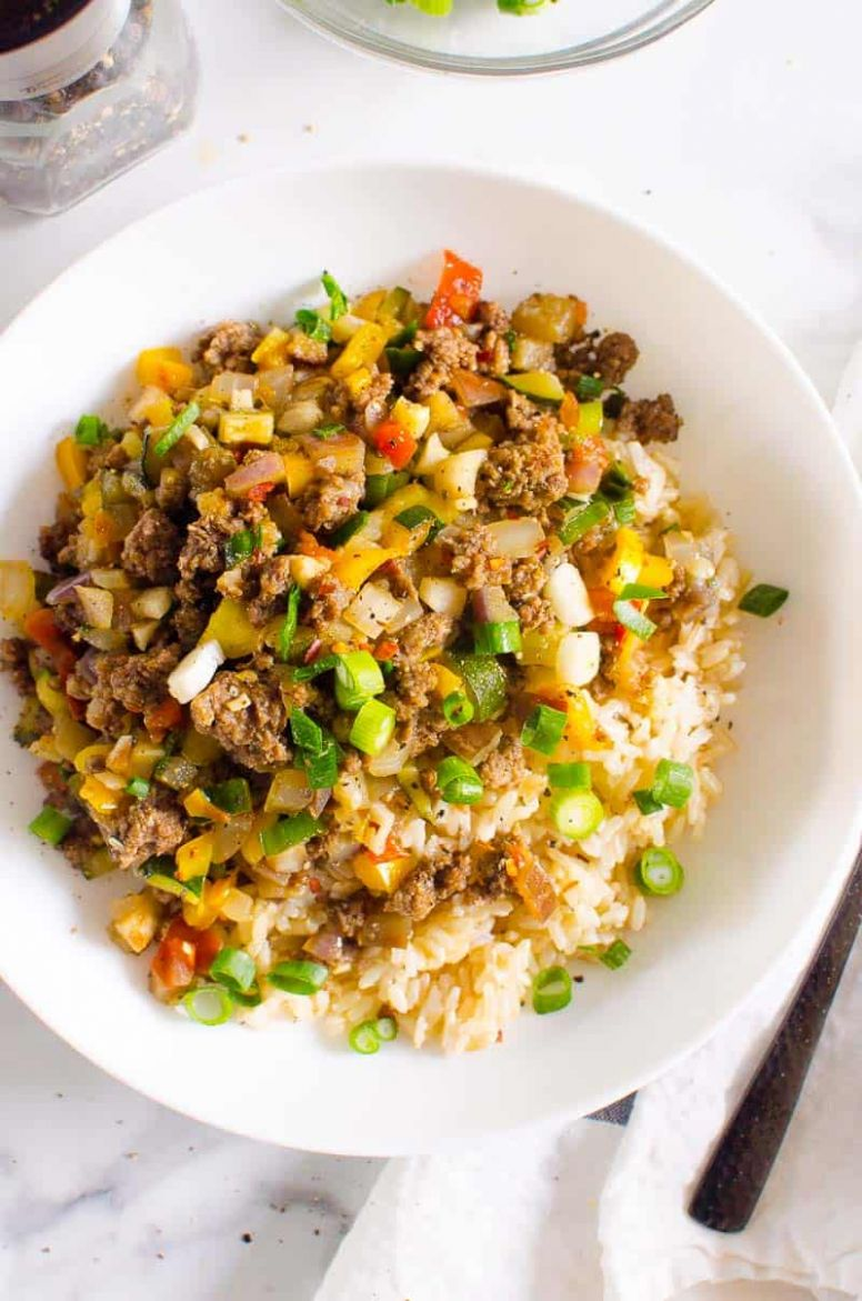 Korean Ground Beef and Rice Bowls Recipe - iFOODreal - Recipes With Ground Beef Zucchini And Rice