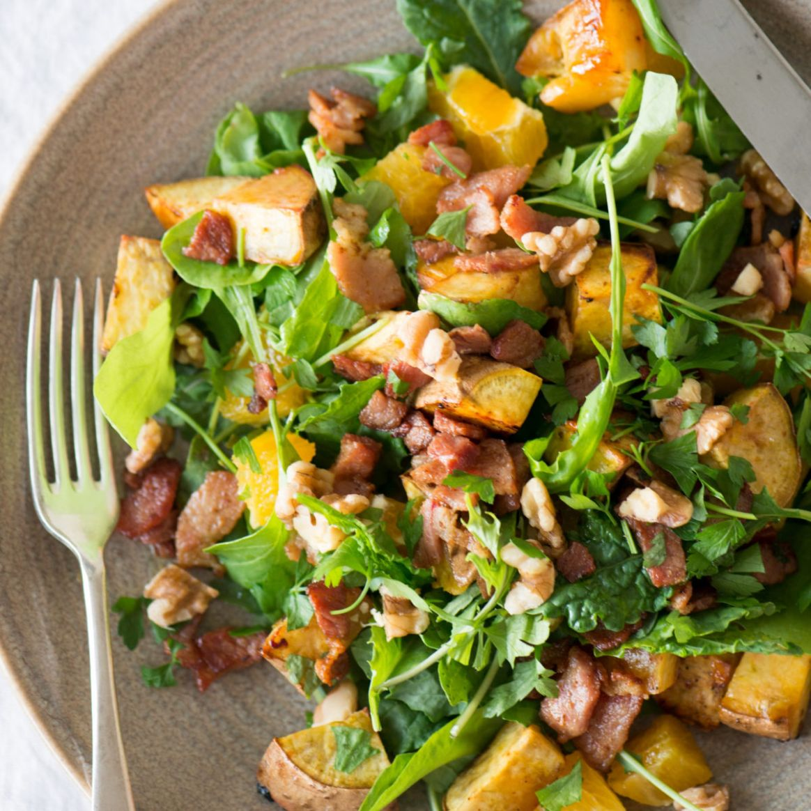 Kumara, bacon, walnut and orange salad - Healthy Recipes Nz