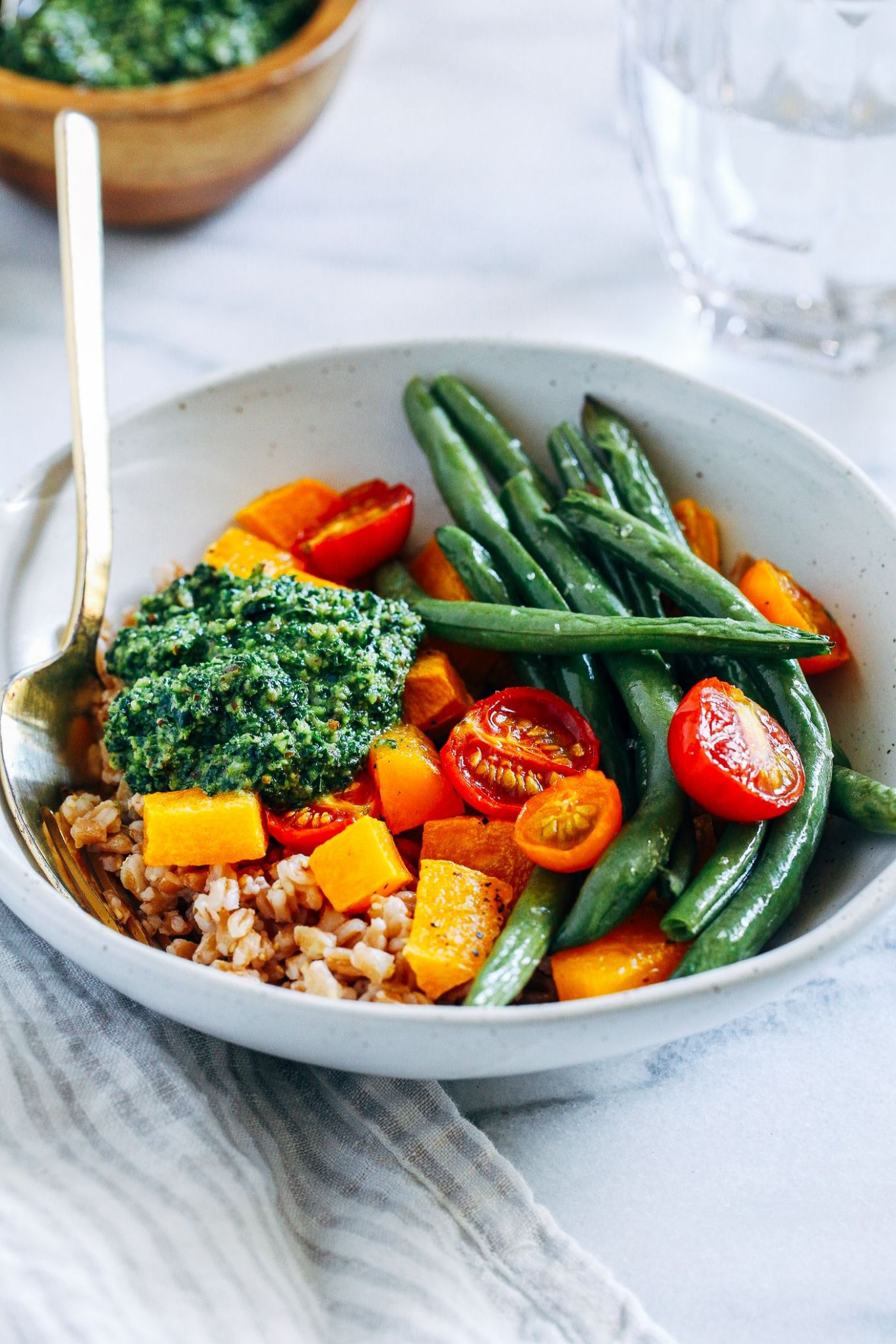 Late Summer Harvest Bowls with Kale Pesto