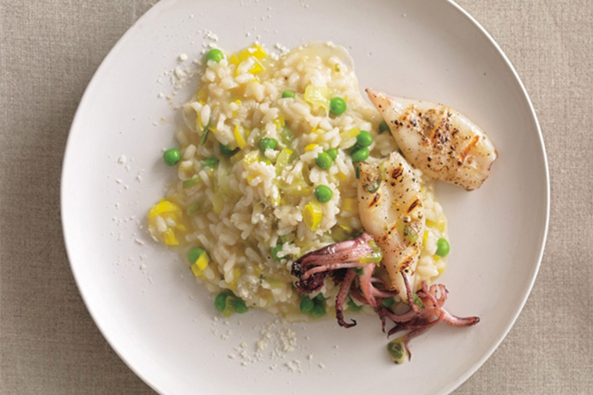 Leek and Pea Risotto with Grilled Calamari - Rice Recipes Epicurious