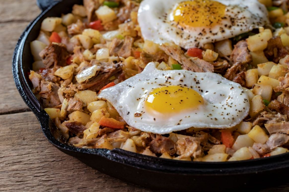 Leftover Pulled Pork Hash with Eggs