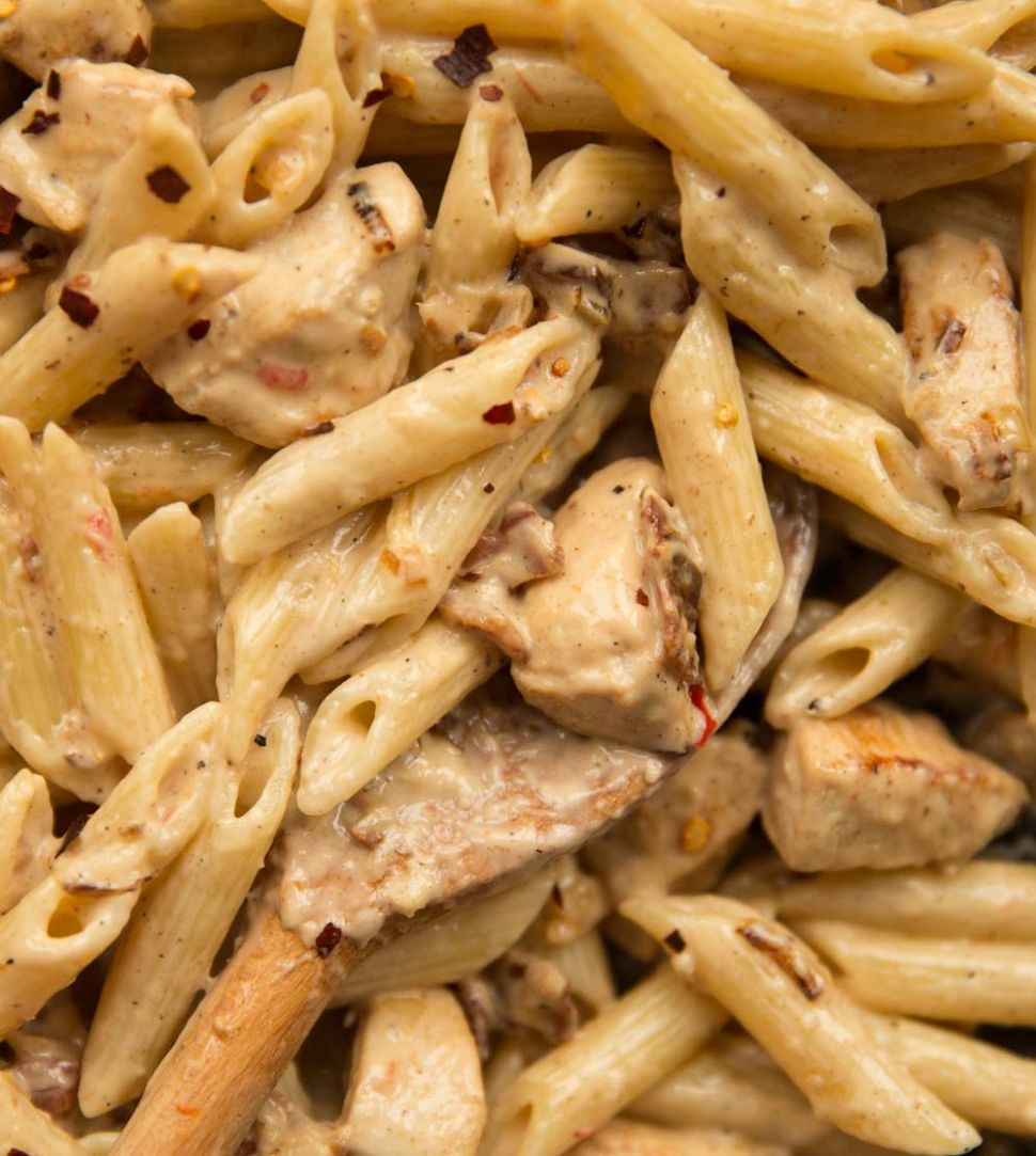 Leftover Roast Chicken and Bacon Pasta