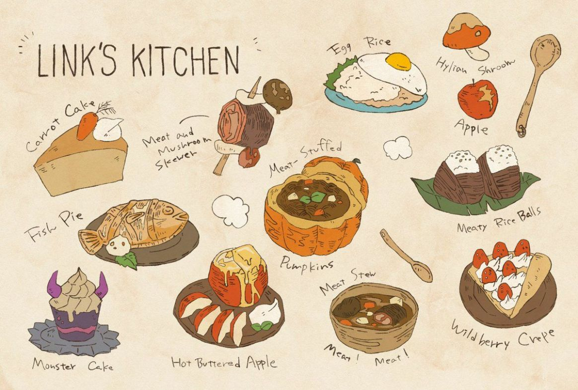 Legend of Zelda Breath of the Wild art > chef Link's dishes he ...